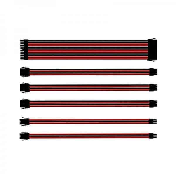 COOLER MASTER UNIVERSAL PSU EXTENSION CABLE KIT WITH PVC SLEEVING (RED/BLACK)