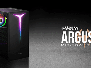 GAMDIAS ARGUS E2 MID TOWER RGB LIT Y SHAPED CRATER CABINET WITH PANOROMIC TEMPER GLASS